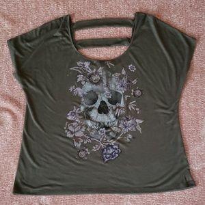 Torrid Skull and Flowers Tee